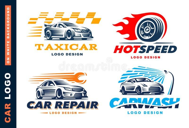 Collection de logos voiture, service de taxi, lavage, réparation, concours illustration libre de droits