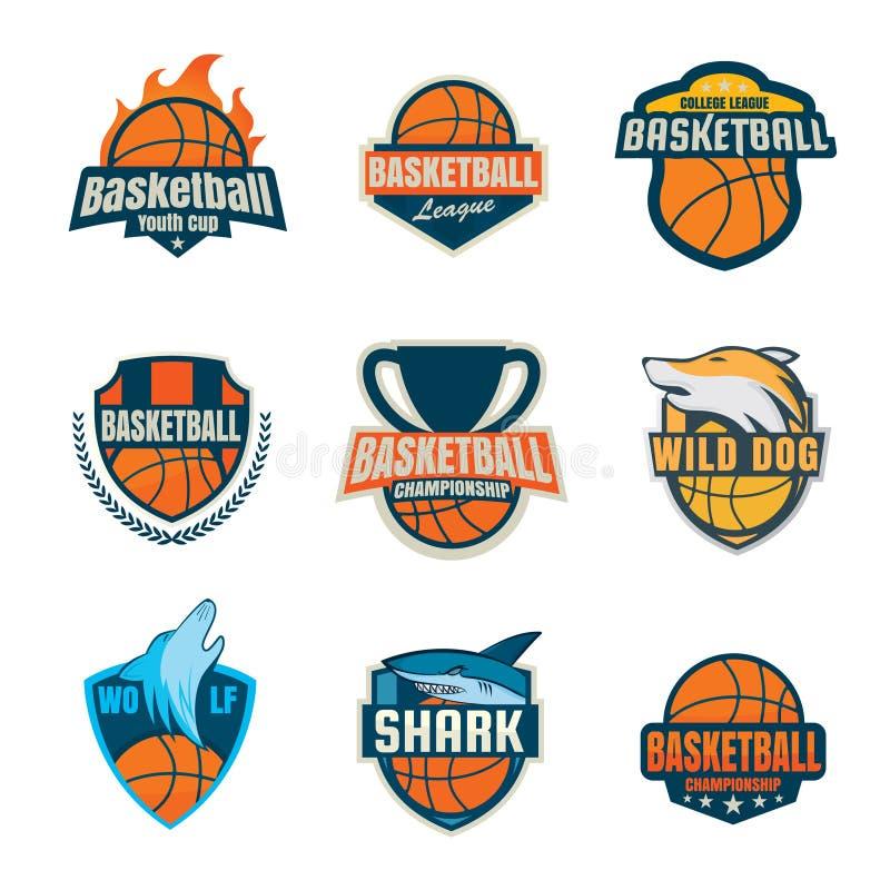 Collection de logotype de basket-ball, ensemble d'insigne de sport illustration stock