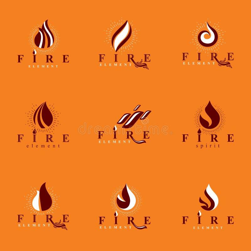 Collection de logotypes oranges chauds de vecteur du feu, élément de nature illustration stock