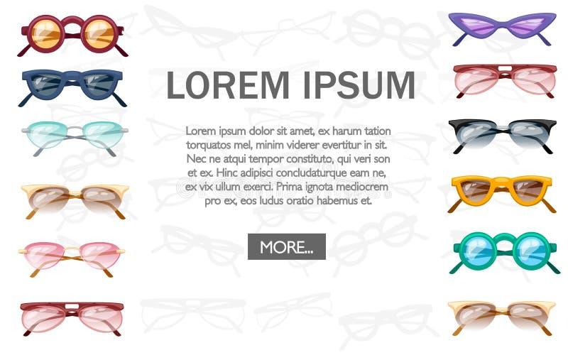 Collection de lunettes de soleil d'été Verres en plastique colorés Illustration plate de vecteur sur le fond blanc Place pour le  illustration de vecteur
