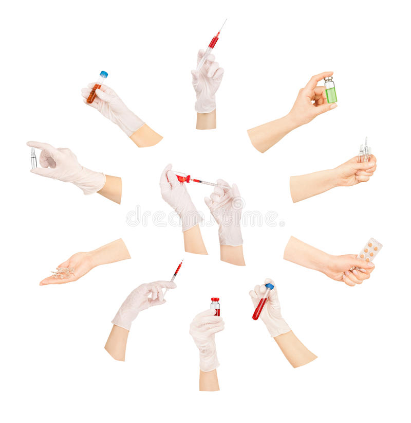 Collection de mains avec les outils médicaux photographie stock libre de droits