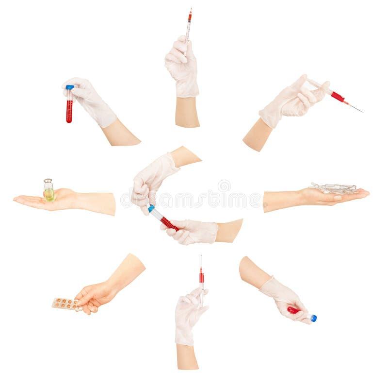 Collection de mains avec les outils médicaux images stock