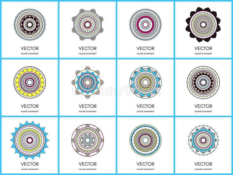 Collection de mandalas Ensemble rond de modèle d'ornement images stock