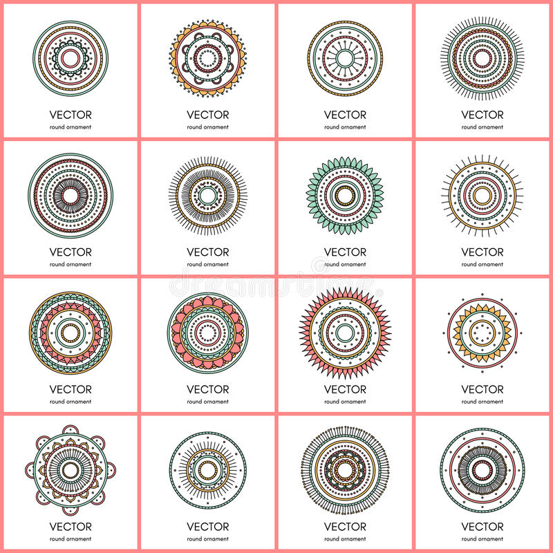 Collection de 16 mandalas simples Ensemble rond de modèle d'ornement images stock