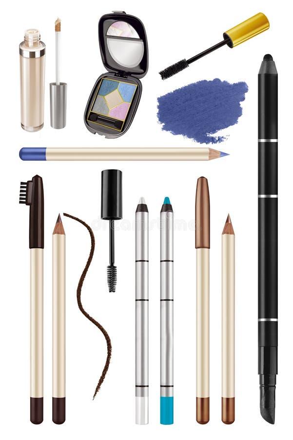 Collection de maquillage cosmétique d'oeil de couleur grande de crayons d'oeil, de fards à paupières et de crayons de sourcils, p photographie stock
