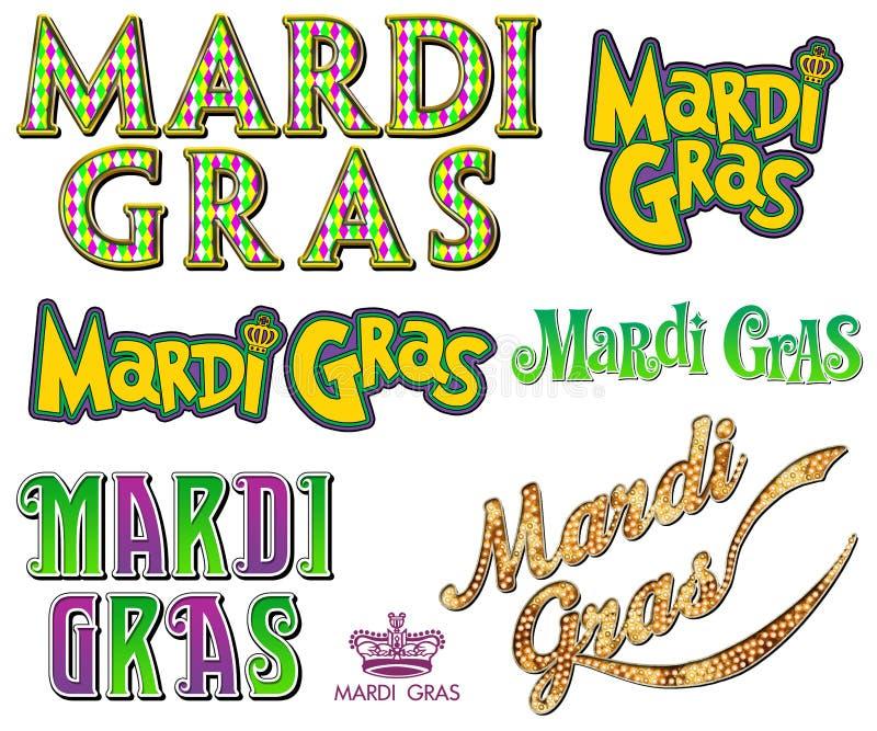 Collection de Mardi Gras Fat Tuesday Word illustration de vecteur