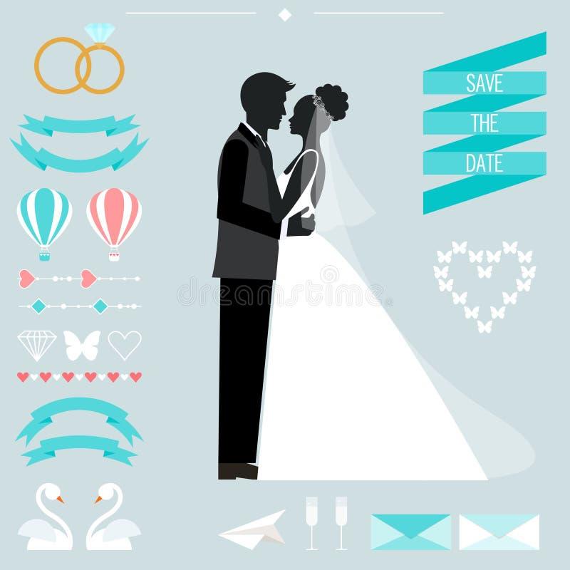 Collection de mariage avec la jeune mariée, la silhouette de marié et les éléments décoratifs romantiques illustration de vecteur