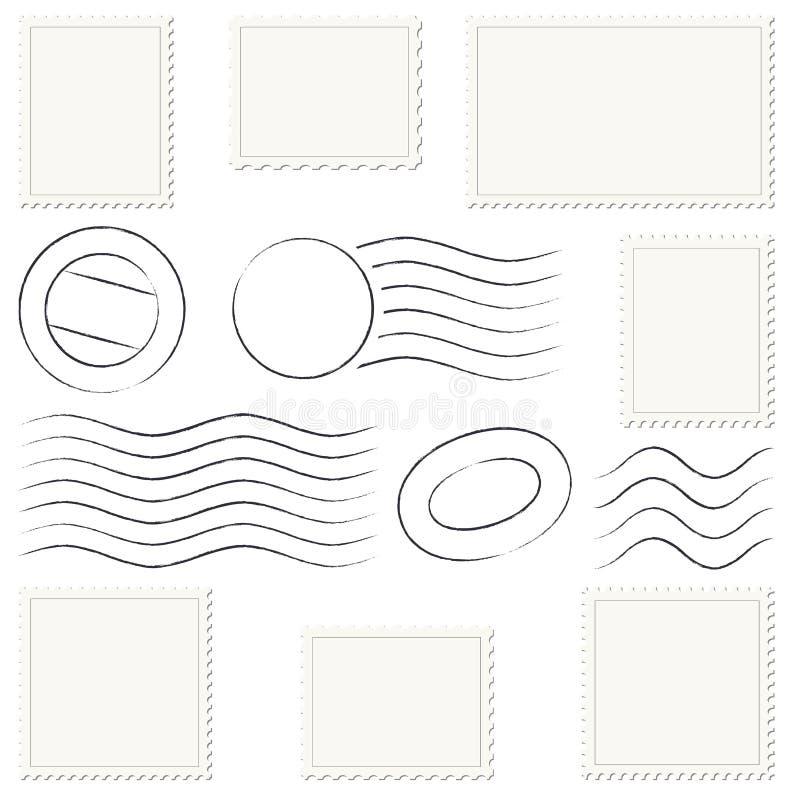 collection de marques et de timbres de courrier illustration de vecteur