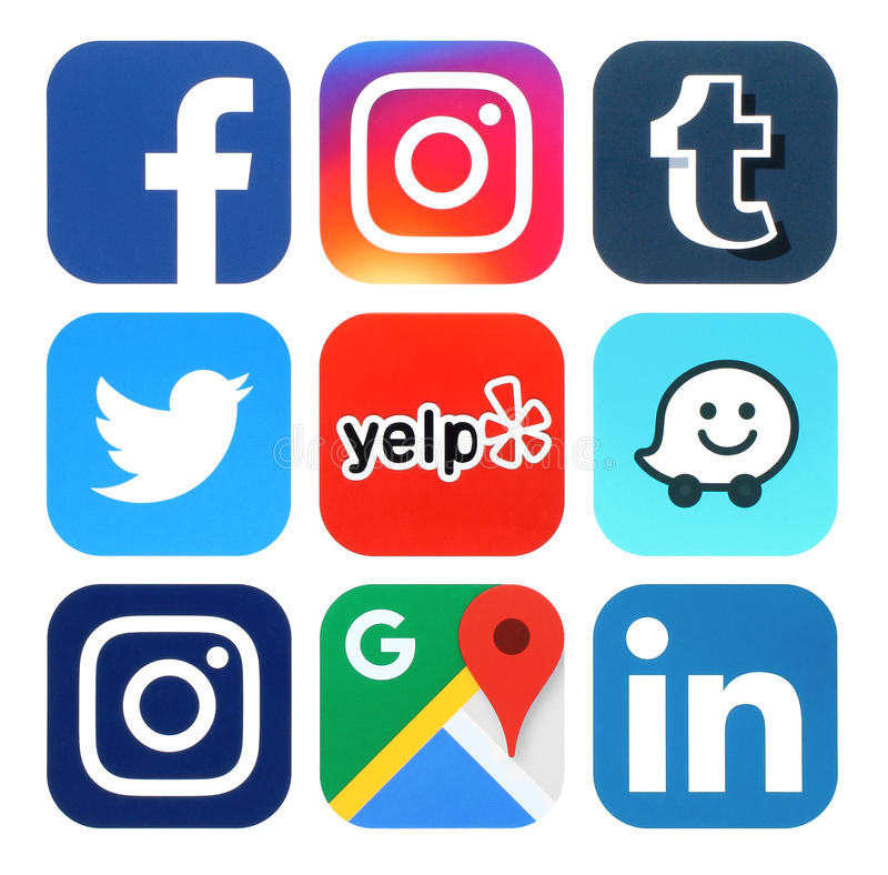 Collection de media, de voyage et de logos sociaux populaires de navigation illustration libre de droits