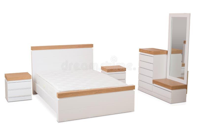 Collection de meubles de chambre à coucher d'isolement sur le fond blanc images libres de droits