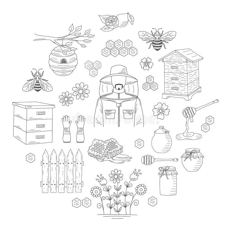 Collection de miel de vecteur avec des éléments de l'apiculture illustration stock