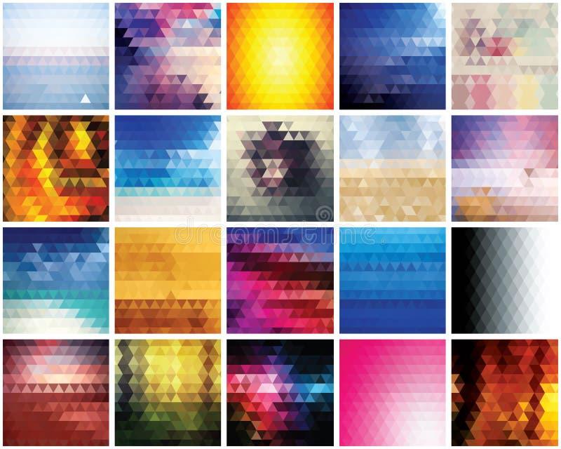 Collection de 20 milieux abstraits de triangles, conception de modèle illustration libre de droits