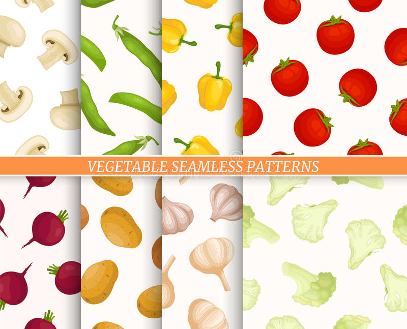 Collection de modèle de Seamles avec différents légumes illustration de vecteur
