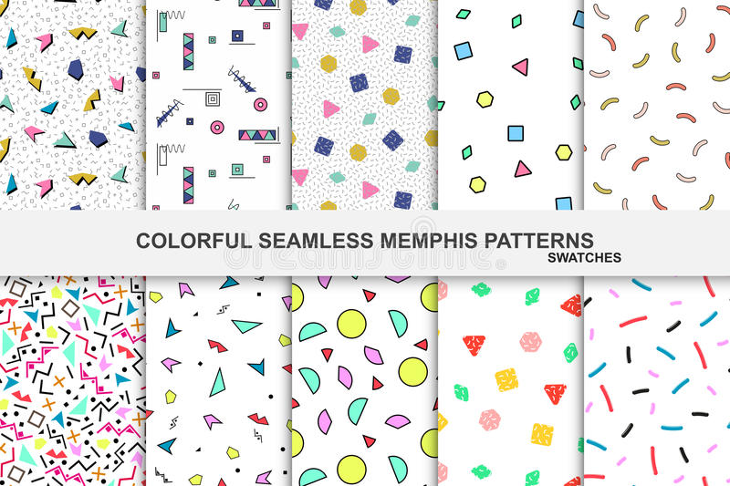 Collection de modèles colorés abstraits de Memphis - échantillons sans couture illustration de vecteur