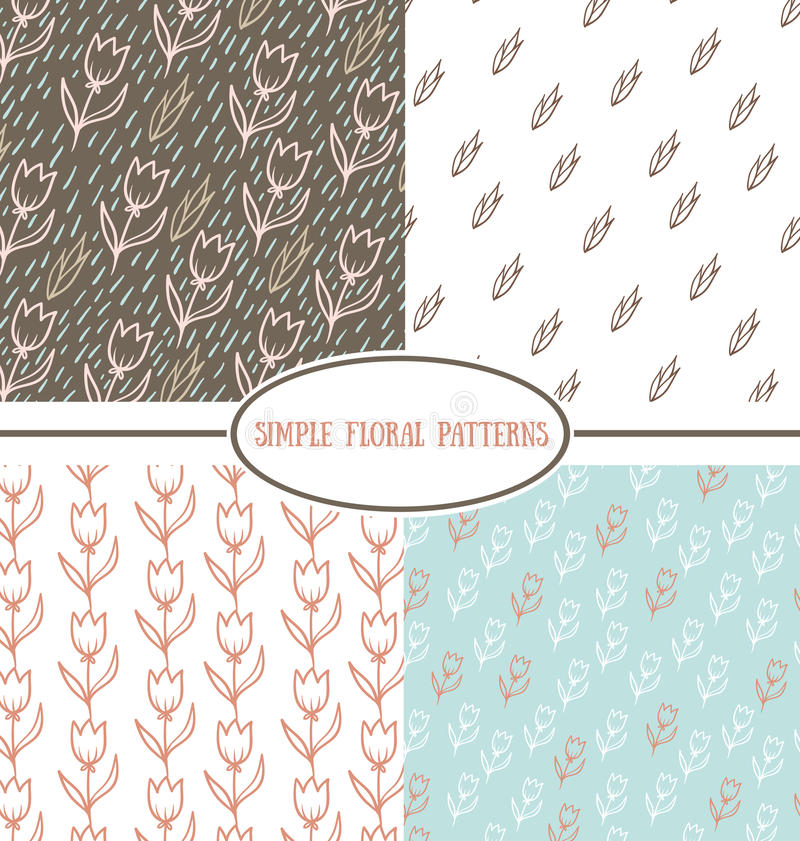Collection de modèles floraux simples illustration stock