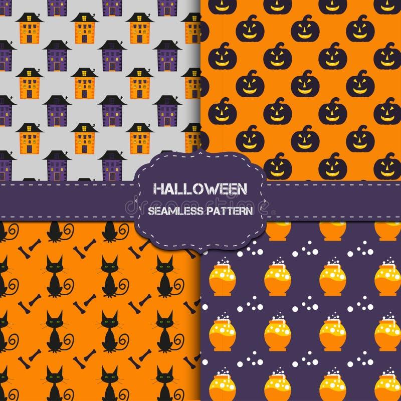 Collection de 4 modèles de Halloween avec la texture sans fin illustration stock