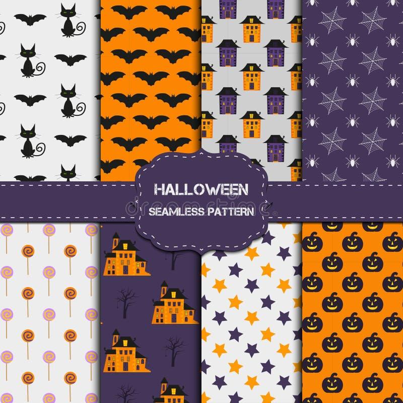 Collection de 8 modèles de Halloween avec la texture sans fin illustration stock