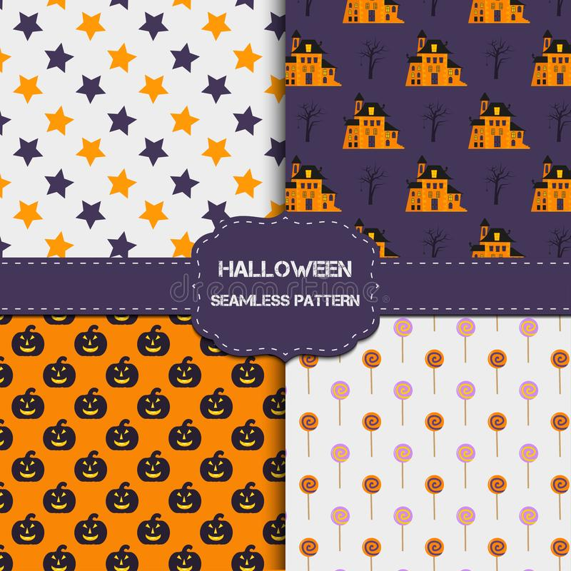 Collection de 4 modèles de Halloween avec la texture sans fin illustration libre de droits