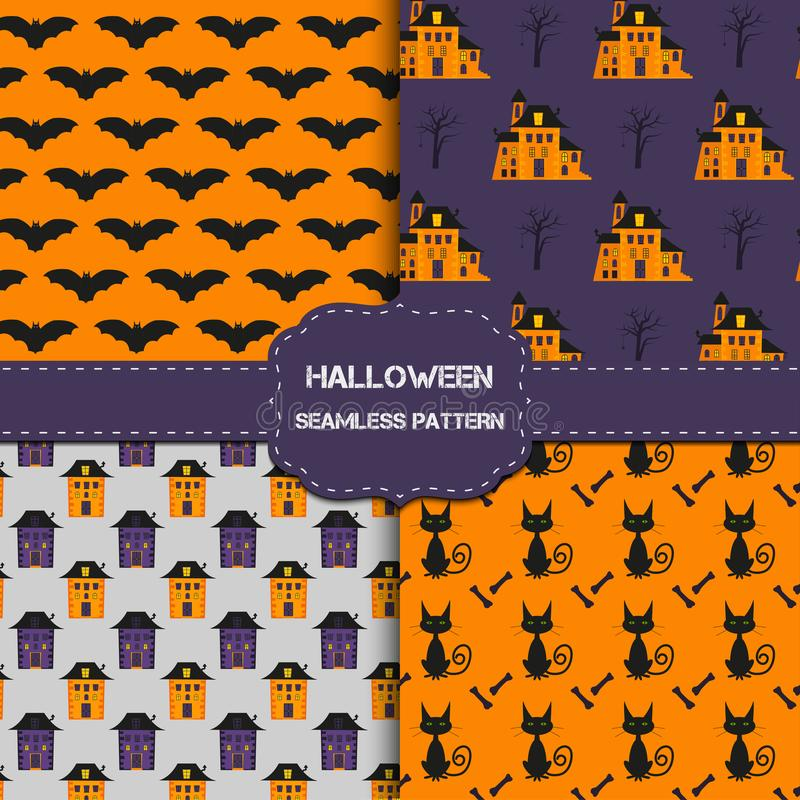 Collection de 4 modèles de Halloween avec la texture sans fin illustration de vecteur