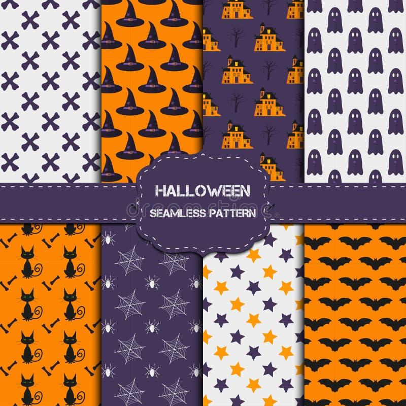 Collection de 8 modèles de Halloween avec la texture sans fin illustration libre de droits