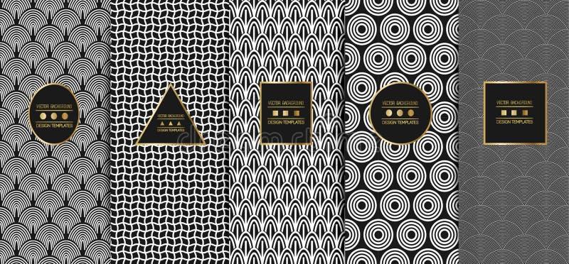 Collection de modèles ornametal sans couture Textures élégantes modernes Fond géométrique abstrait Vecteur illustration libre de droits