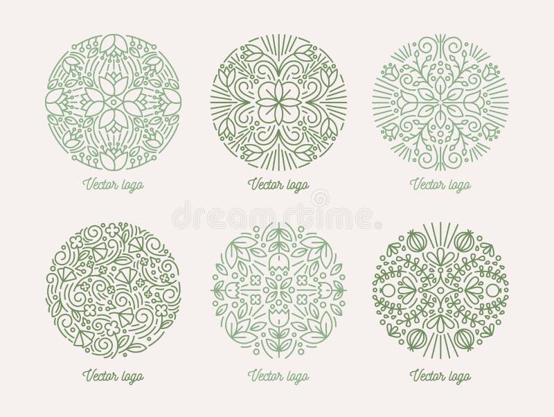 Collection de motifs orientaux floraux ronds Ensemble de mandalas arabes verts Paquet d'éléments décoratifs élégants de conceptio illustration de vecteur