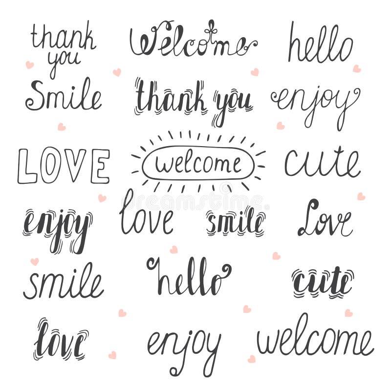 Collection de mots tirés par la main pour votre conception Faites bon accueil, remerciez à y illustration stock