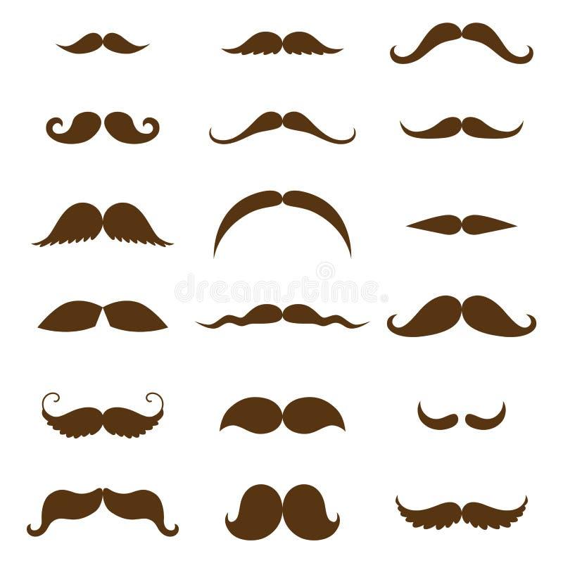 Collection de moustache Silhouette noire de l'ensemble de moustache d'isolement sur le blanc Dessin stylisé de gravure de vintage illustration libre de droits