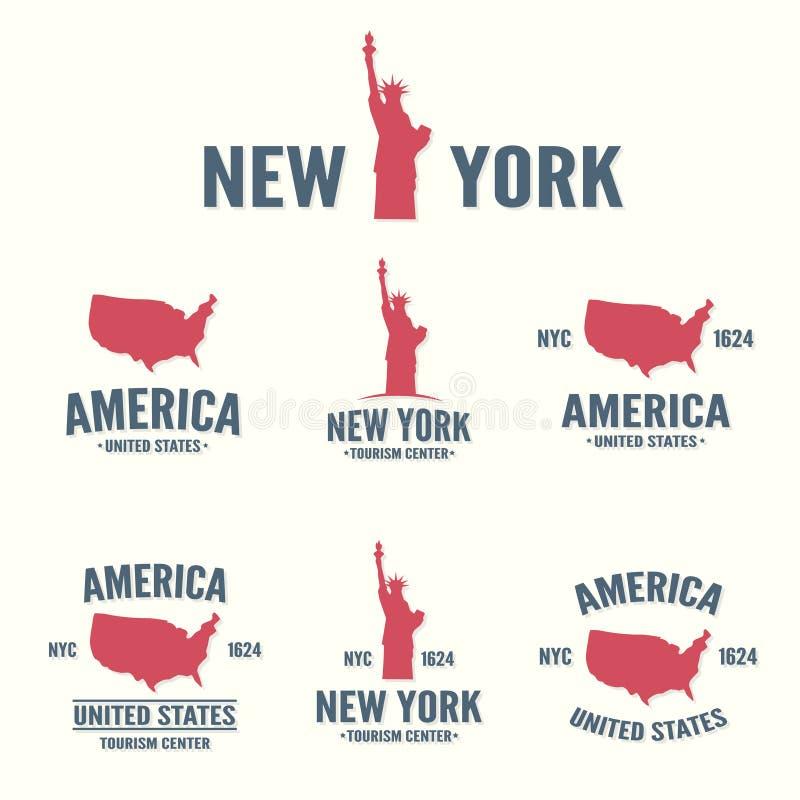 Collection de New York, de l'Amérique, d'icône des Etats-Unis ou de logo illustration stock
