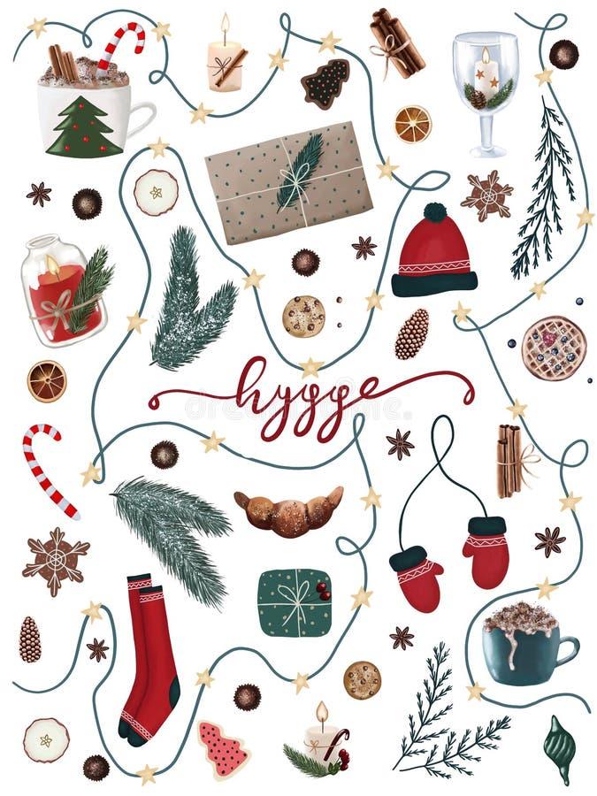 Collection de Noël de Hygge d'articles de fête de vacances ensemble saisonnier de Noël de trame avec les pins, les chaussettes de illustration stock