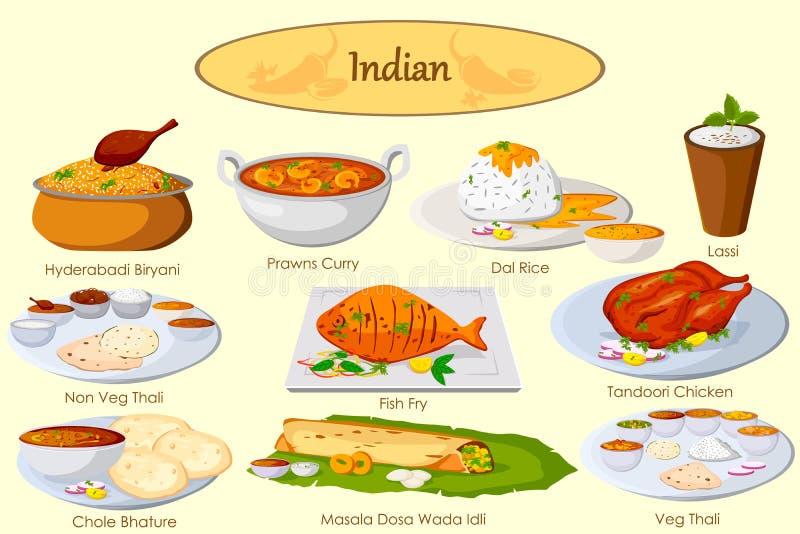 Collection de nourriture indienne délicieuse illustration de vecteur