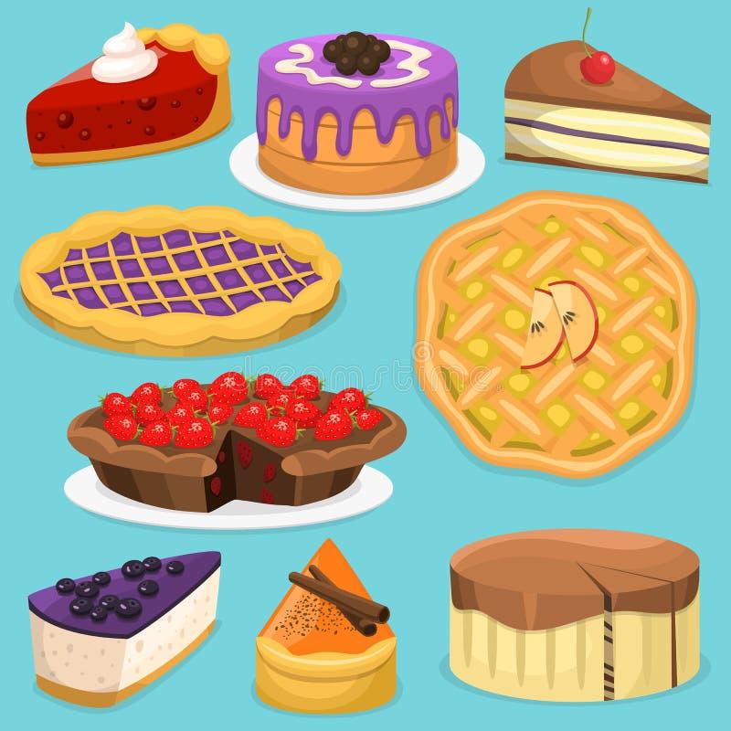 Collection de nourriture de vacances d'illustration de vecteur de tarte de gâteau de crème de célébration d'anniversaire illustration libre de droits