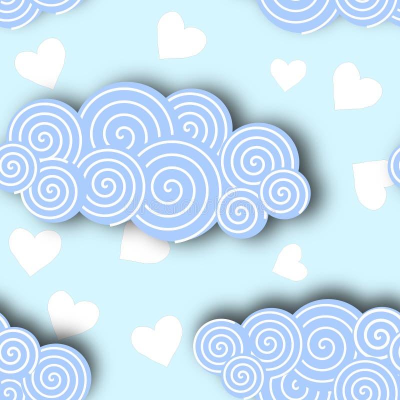 Collection de nuage dans l'illustration de vecteur de fond de ciel bleu illustration de vecteur
