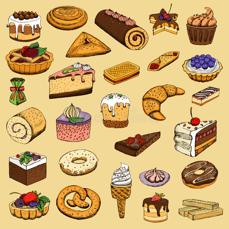 Collection de pâtisseries douces illustration libre de droits