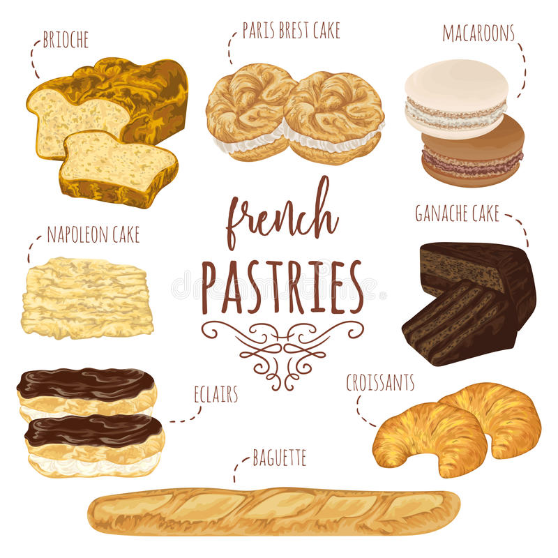 Collection de pâtisseries françaises La brioche, macarons, croissants, baguette, eclairs, Paris Brest, ganache, napoléon durcit illustration de vecteur
