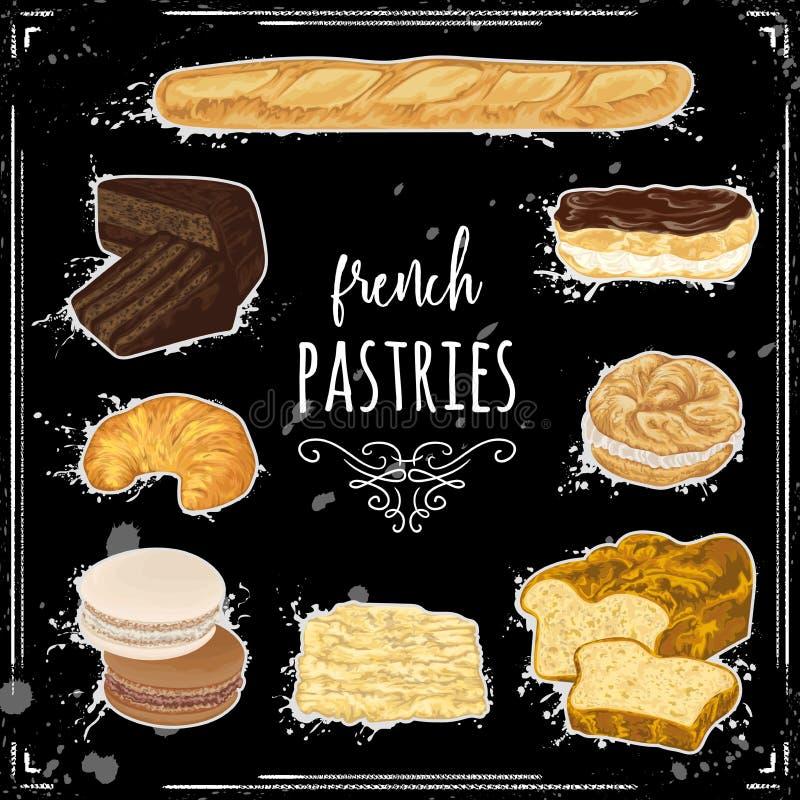 Collection de pâtisseries françaises sur le tableau illustration libre de droits