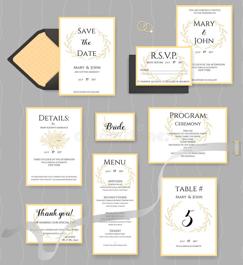 Collection de papeterie de mariage Ensemble de vecteur de cartes d'invitation illustration de vecteur