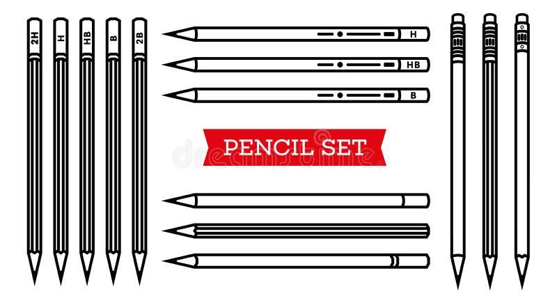 Collection de papeterie le crayon lecteur de bloc-notes usine l'écriture Ensemble de crayon Style d'ensemble Crayonnez la ligne m illustration libre de droits