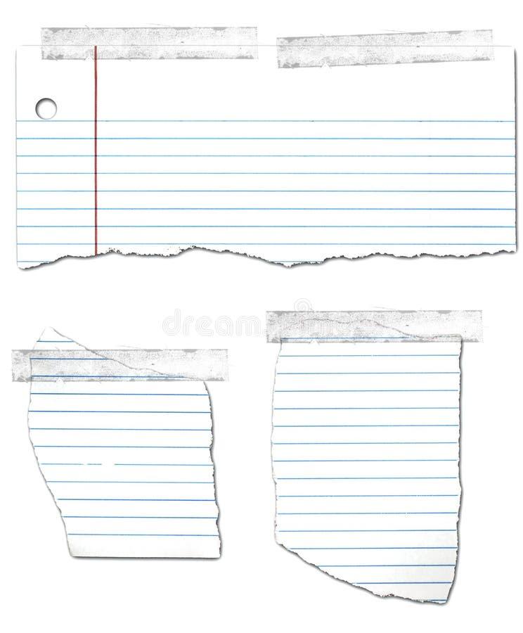 Collection de papier à feuilles mobiles déchirée et enregistrée sur bande illustration libre de droits