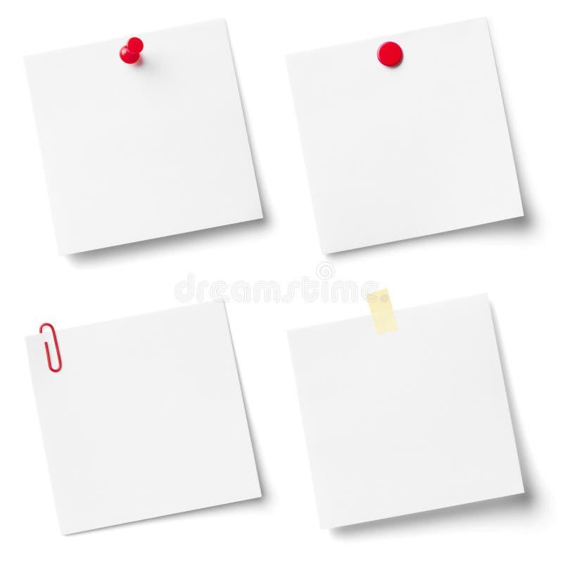 Collection de papiers de note blancs. images libres de droits