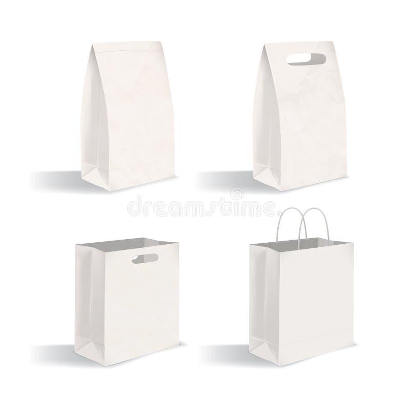 Collection de paquets propres d'isolement sur le fond blanc Ensemble de sacs en papier vides avec et sans des poignées Paquet de illustration libre de droits