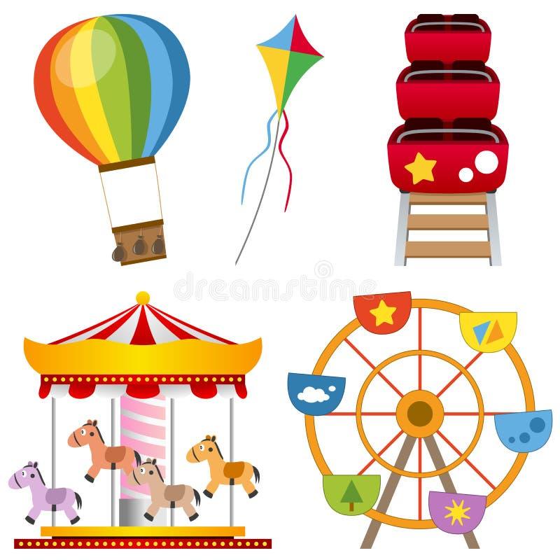 Collection de parc d'attractions illustration de vecteur