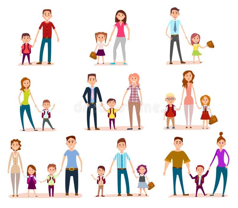Collection de parents avec leurs écoliers illustration stock