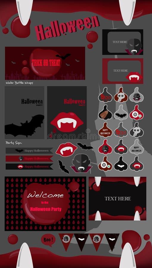 Collection de partie de Halloween labels de Halloween de vecteur, icônes, éléments, carte de voeux illustration libre de droits