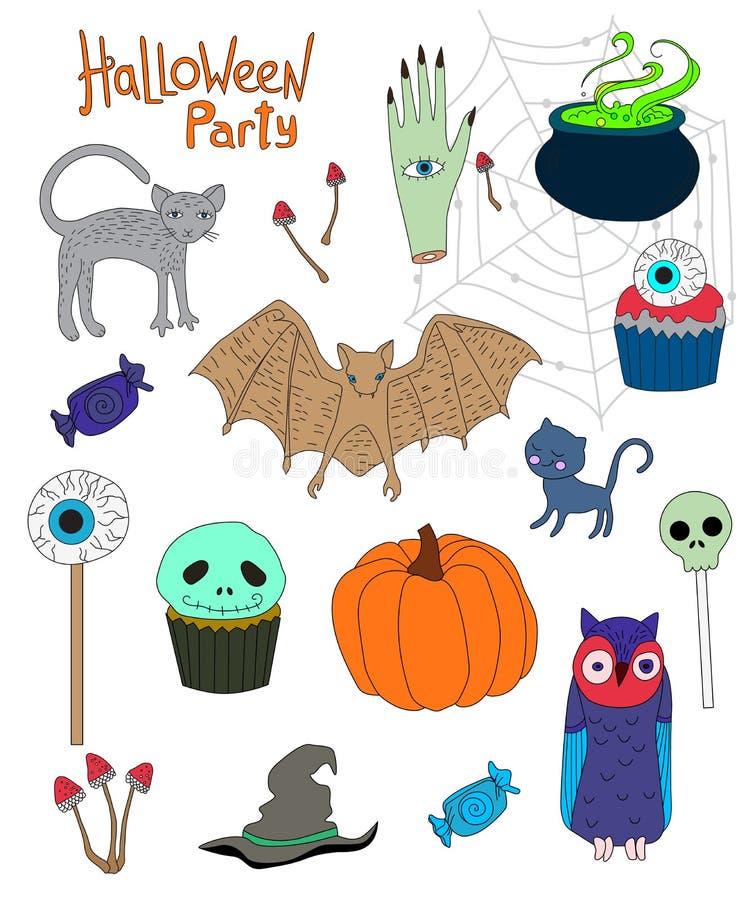 Collection de personnages de dessin animé colorés pour Halloween illustration de vecteur