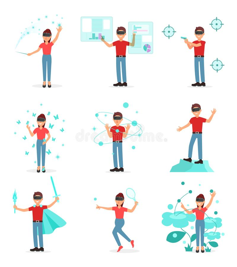 Collection de personnes jouant le jeu vidéo dans la réalité virtuelle avec le casque de VR, personne employant la technologie de  illustration de vecteur
