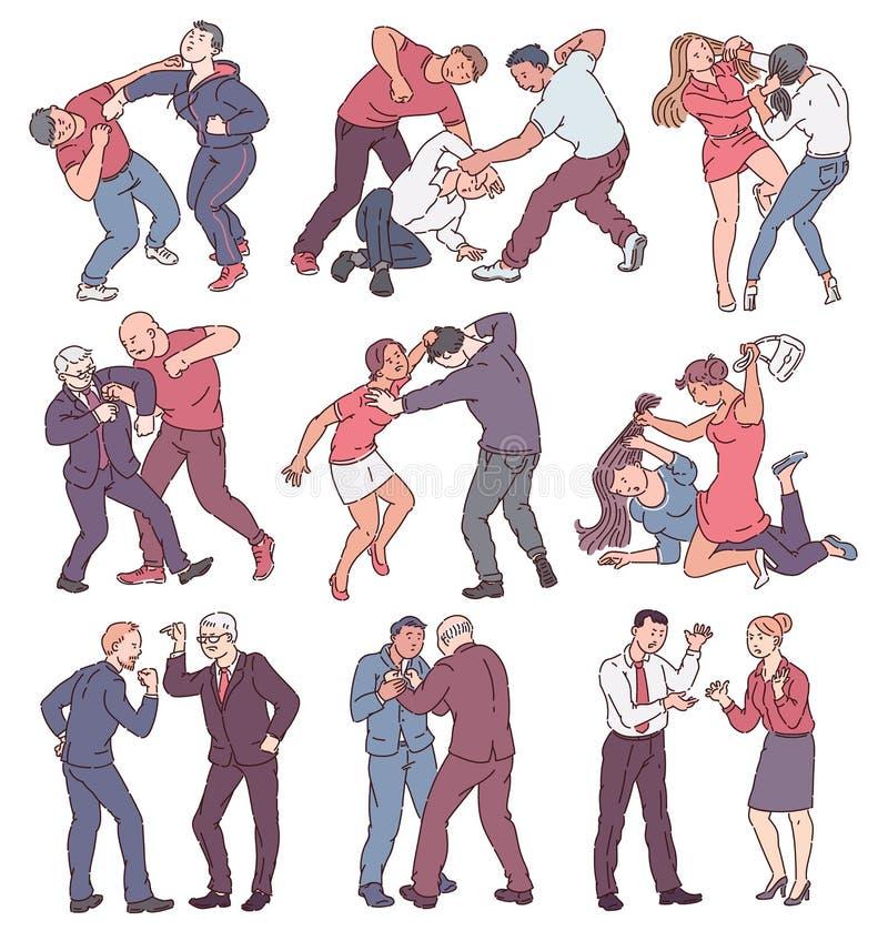 Collection de personnes pendant le combat, les hommes fâchés et les femmes en conflit physique illustration de vecteur