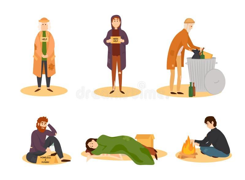 Collection de personnes sans abri illustration de vecteur