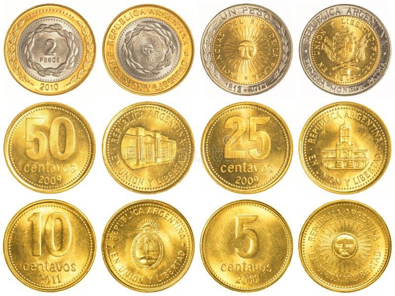 collection de pièces de monnaie de circulation de peso argentin photographie stock libre de droits