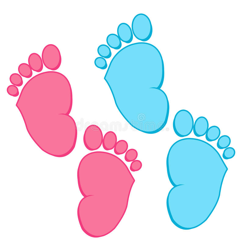 Collection de pieds de bébé illustration de vecteur